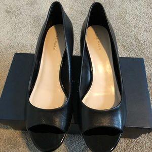 Cole Haan Black Elsie peep toe wedge, size 8 M